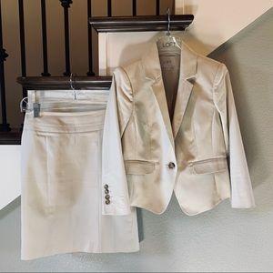Ann Taylor Loft khaki suit, size 00P